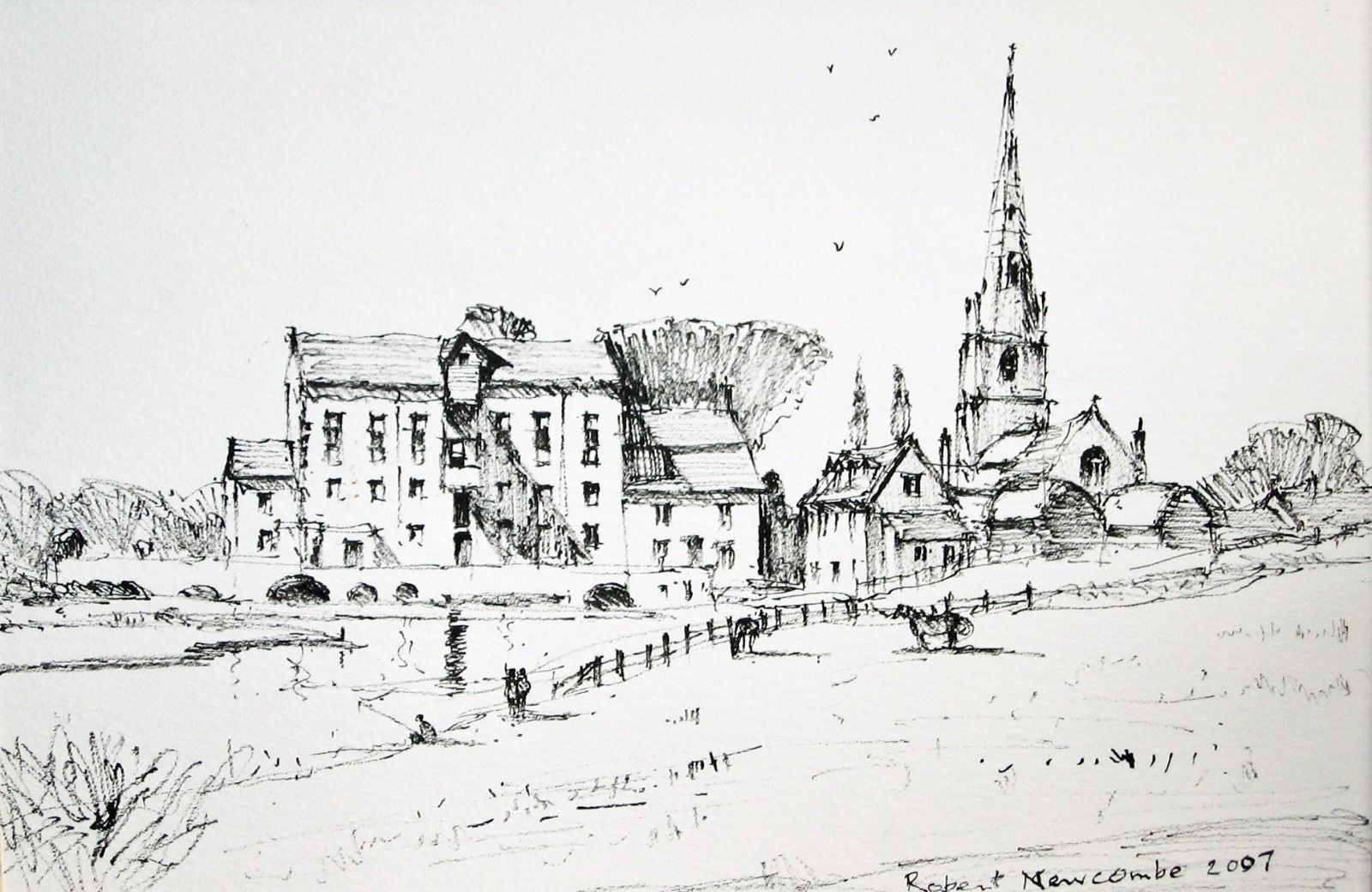 Olney Mill & Church Line drawing