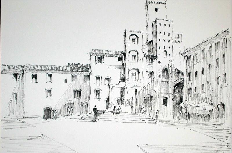 San Gimignano, Italy line drawing