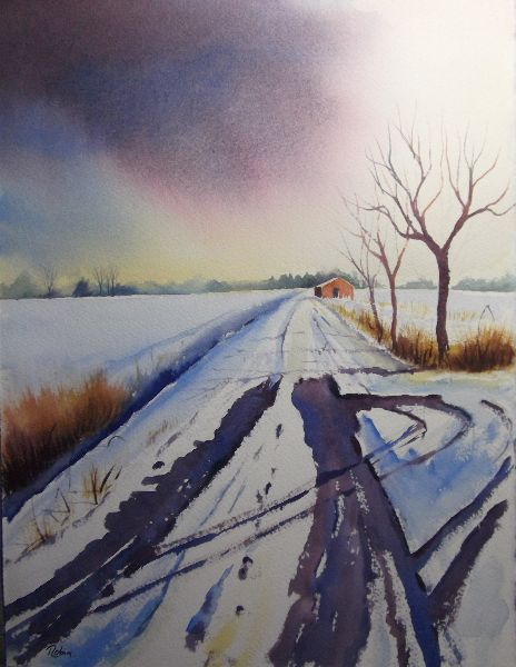 Tracks In The Snow, Off Mareham Lane. Sold.