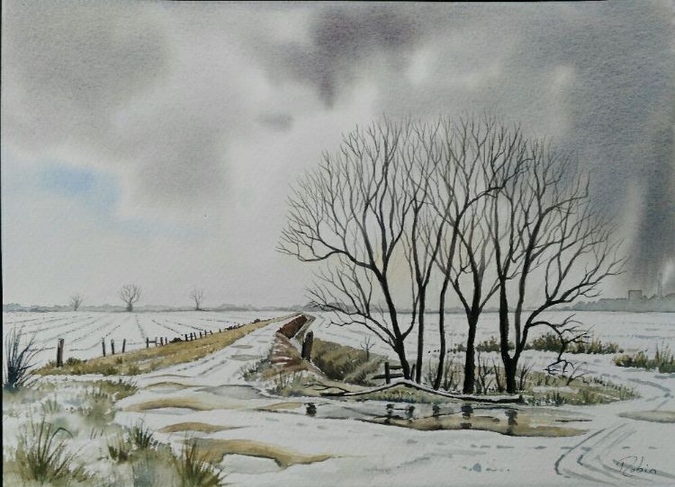 Winter, Looking Back to Mareham Lane. NFS