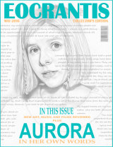 AURORA DRAWING AS A MAGAZINE COVER