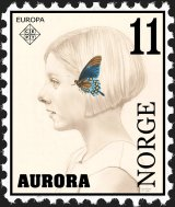 MY DRAWING OF AURORA IN THE GUISE OF A NORWEGIAN STAMP.