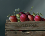 "SOLD  Cider apples  11""x17""+frame  oil on panel"