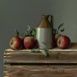 "Cider apples and flagon . Oil on panel 15""x 15""inch SOLD"