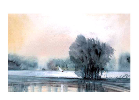 Port Meadow, Oxford, in flood (sold)
