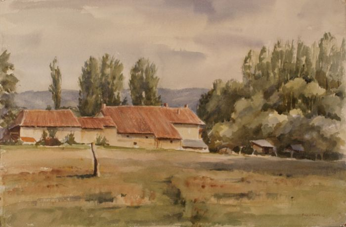 239 Tremolat Dordogne Watercolour 57 x 38