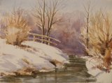 331 Brook at  Holcot in Winter Watercolour 28 x 20