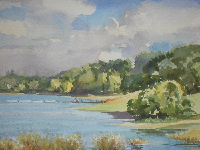 373 Moored Boats on Pitsford Water Watercolour 35 x 26