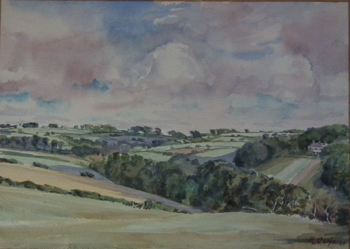 629 Inland from Portscatho Watercolour 35 x 25