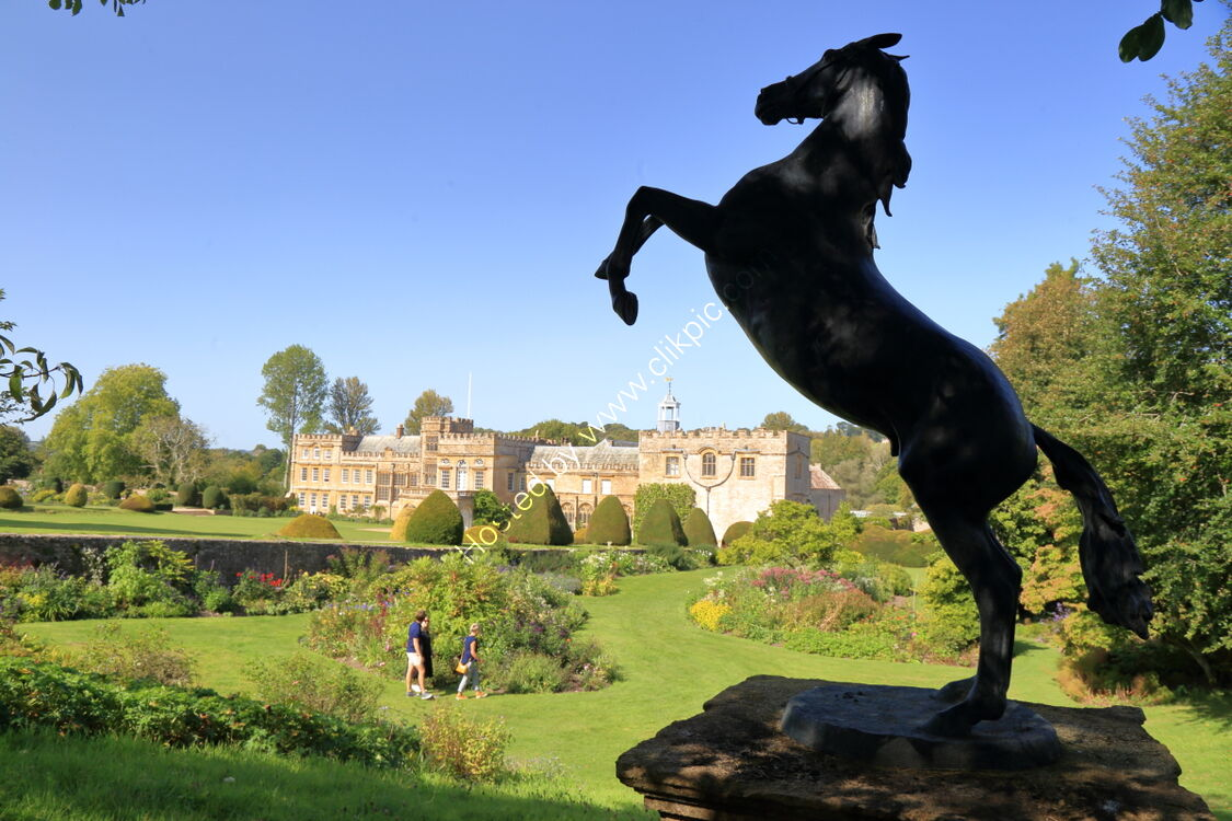 Horse sculpture overlooking gardens at Forde Abbey