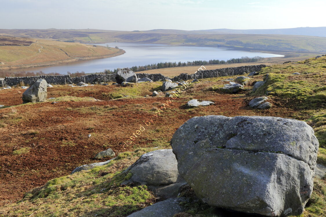 Boulders and drystone walls at Grimwith Reservoir