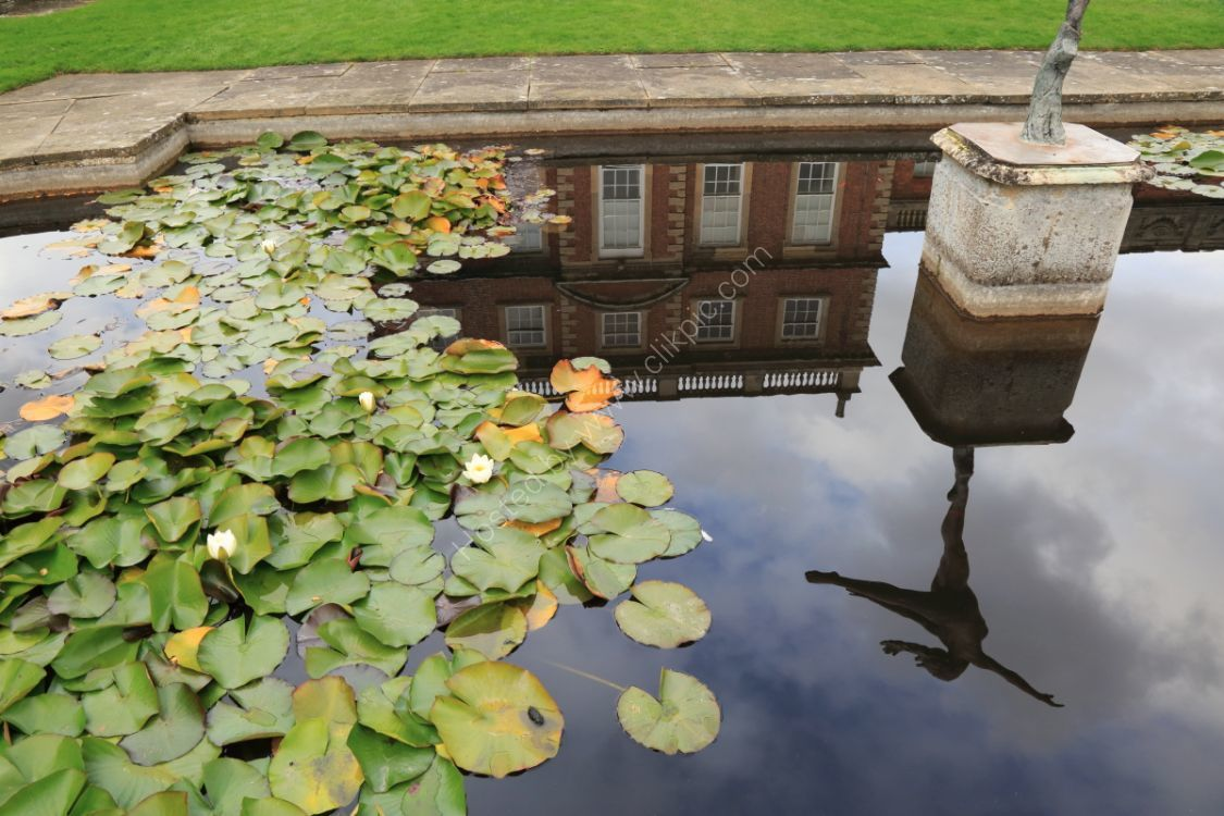 Reflection of Newby Hall in pool, with water-lilies