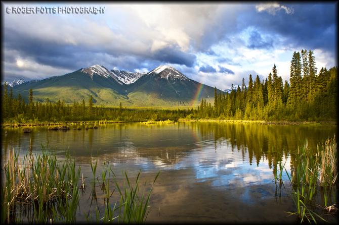 Rainbow Over Vermillion Lakes Alberta Canada