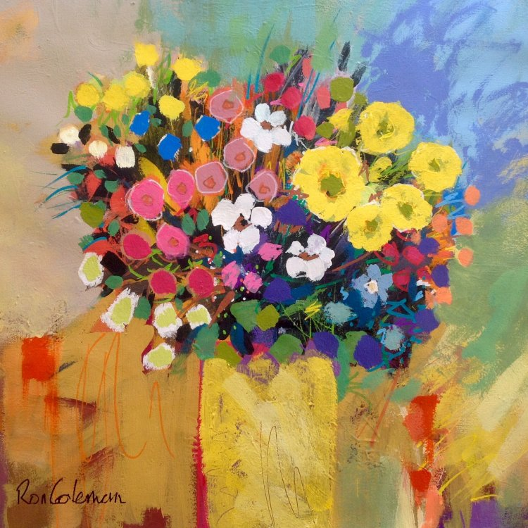 """'July Bouquet' 22"""" square"""