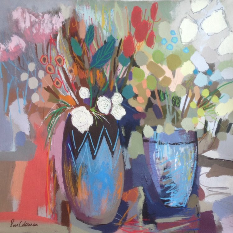 Zig-zag blue vase