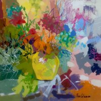 "Yellow Vase 22"" square"