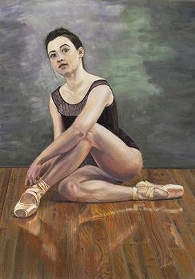 Ballerina Tying Her Shoelaces