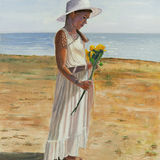 Beach Girl With Sunflowers