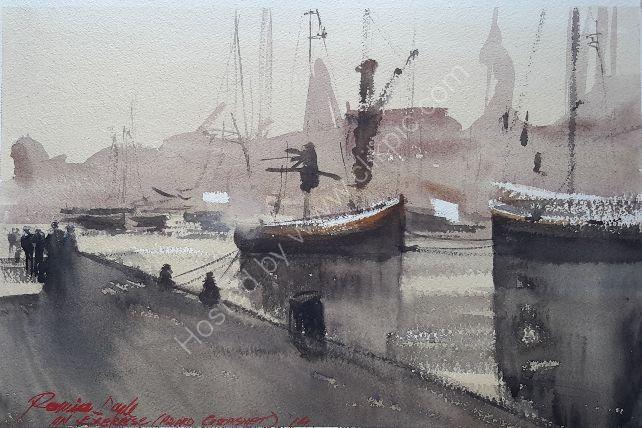 Harbour Scene: my version of an Alvaro Castagnet