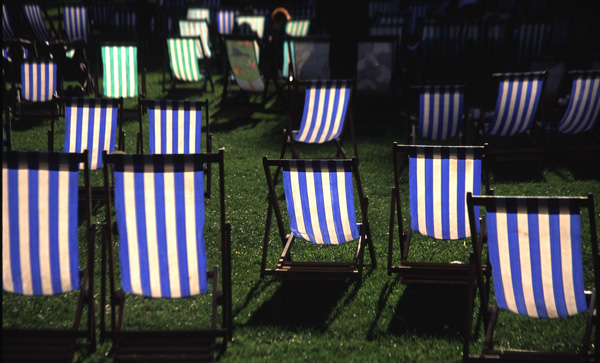 Deckchairs, backlit.