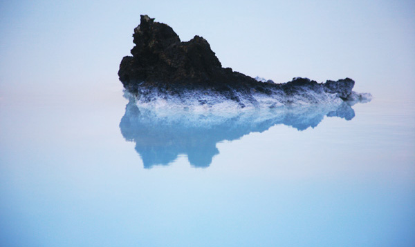 Lava in a pool of blue.