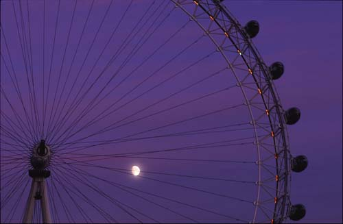 London Eye moonlit.