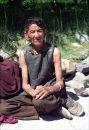 Elderly woman in mountains