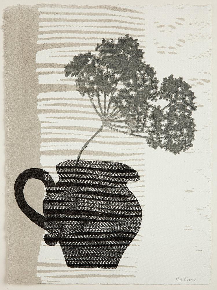 Striped jug. Monoprint.