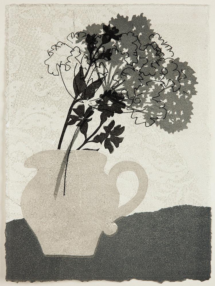 Little grey jug. Monoprint.