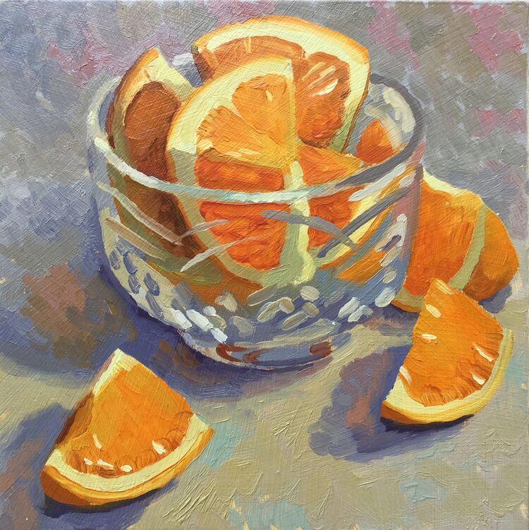 'Orange Segments in a Cut Glass Bowl' SOLD