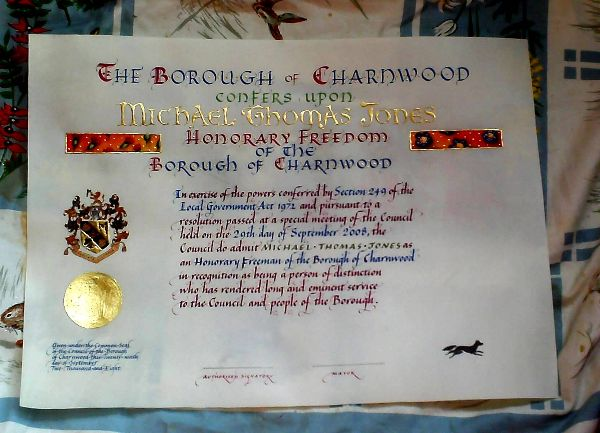 Freedom of Charnwood Scroll