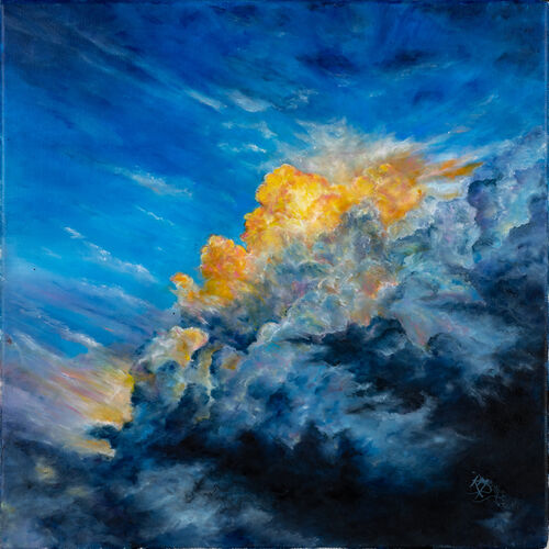 oil painitng - sky, clouds, golden lining, moody, purple