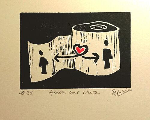 Small un framed print - Health over Weath by Rosie Burns Artist