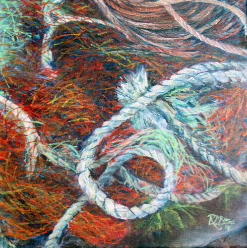 small fishing net paitnig - red, blue, green
