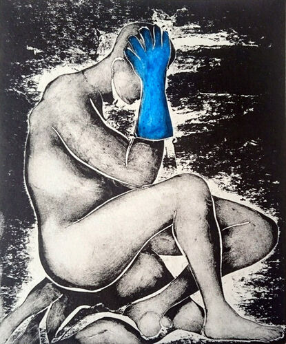 Man sitting on the Floor head in hand - wearing blue rubber gloves -monotype print