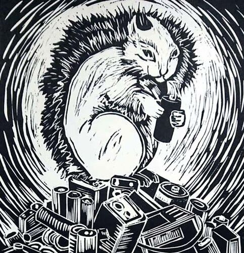 Japanese woodcut - Nuts? - squirel on a pile of disposable batteries
