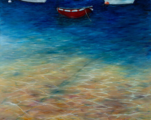 Framed, mounted giclee print of Little Red Boat - from an original oil painting.