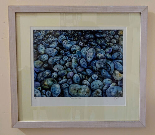 Framed, glazed, mounted giclee print of Pebbles Rain Rest - form an original oil painting.