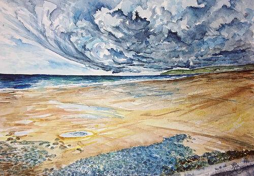 Westward Ho! Beach - watercolour