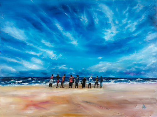 oil painitng - people on a beach - big sky - CHURCH a body of people