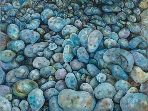 oil painitng - pebbles, soft rain, blues