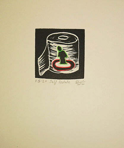 Small un framed print - Social Dstance - 2m rule graphic on loo roll