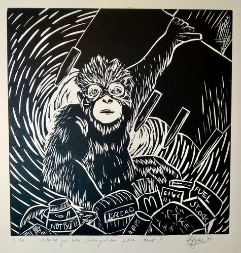 Japanese woodcut - Woudl You Like Orangutan with that?