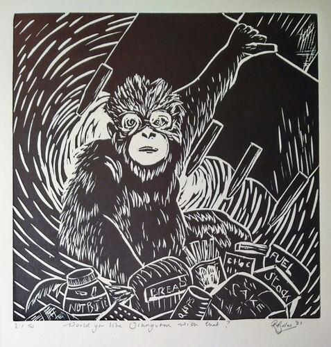 Japanese woodcut - Would You Like Orangutan with that?