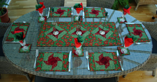 Poinsettia Christmas Table Runner & Accessories