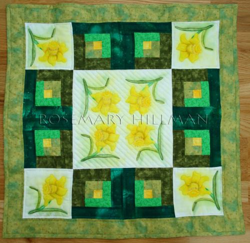 Painted Flowers Table Topper Quilt
