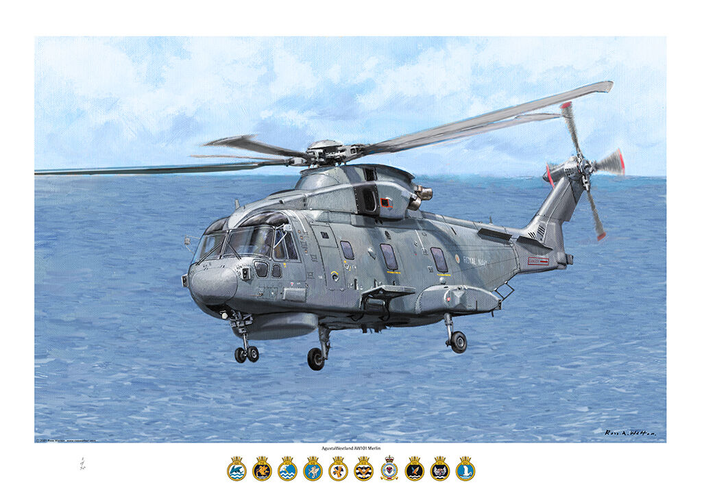 AugustaWestland HM! flying above a Type 23 frigate