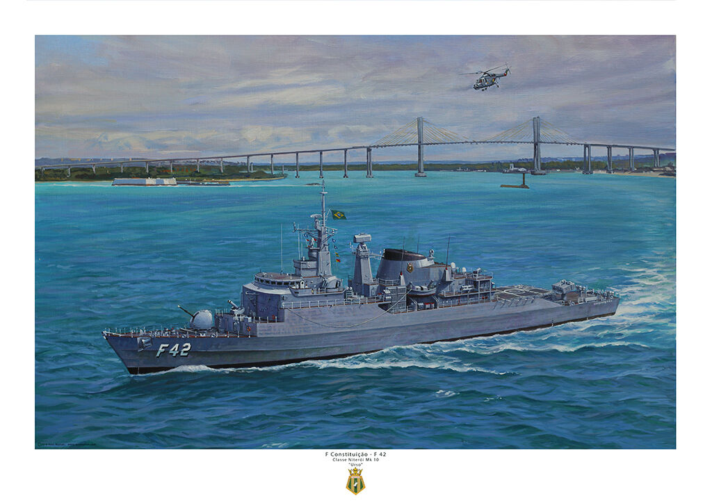 F Constituição - F 42 off the Brazilian coast showing suspension bridge, turning to starboard with Lynx airborne