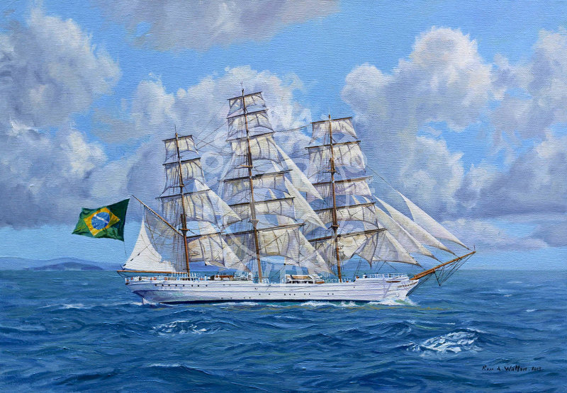 NVe Cisne Branco under full sail off the Brazil with clouds scattering the sky.