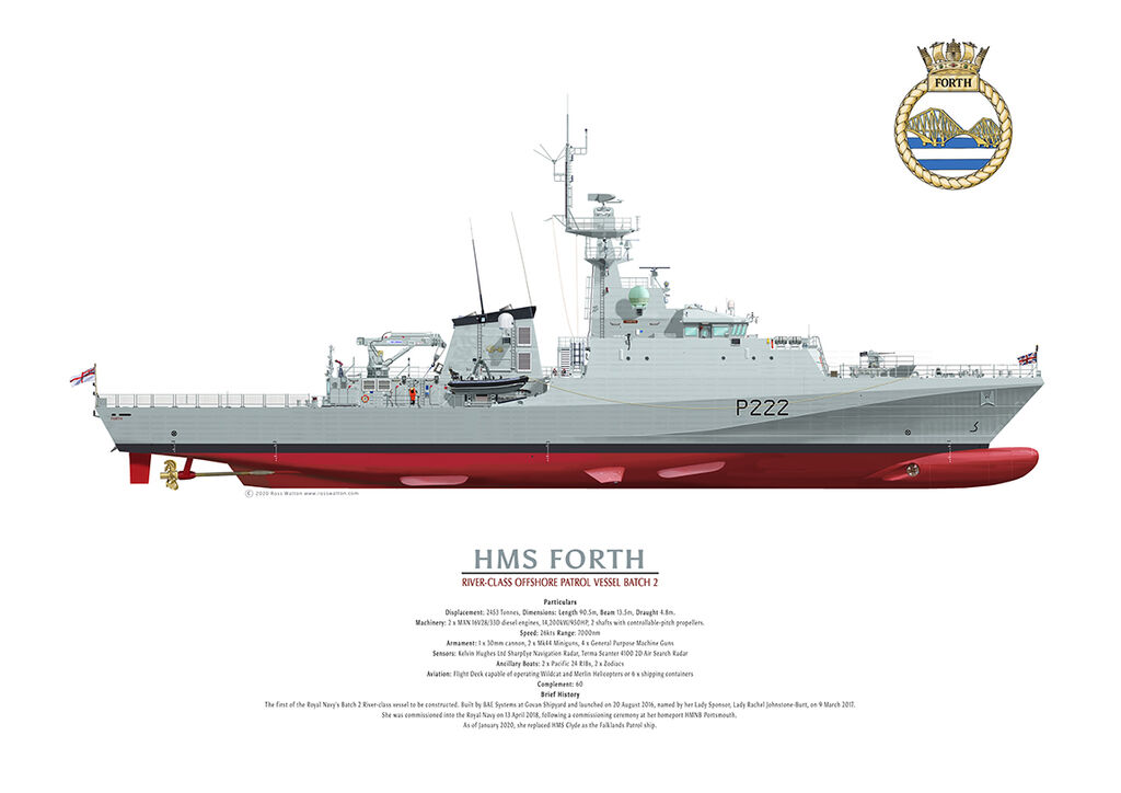 HMS FORTH starboard side drawing showing ship's crest